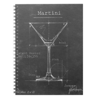 黒く及び白いマルティーニガラスの青写真 ノートブック