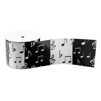 黒く及び白いミュージカルのストライプなリボン グログランリボン