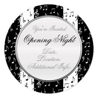 黒く及び白いミュージカルのストライプの円形の招待状2 13.3 スクエアインビテーションカード