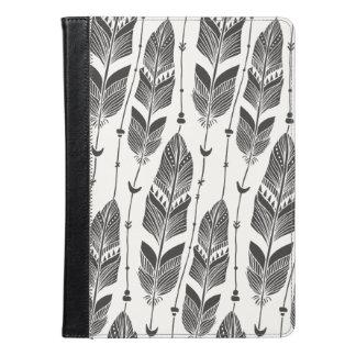 黒く及び白いルンペンパターン大きい羽 iPad AIRケース