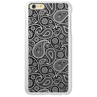 黒く及び白いレトロのペイズリーパターン INCIPIO FEATHER SHINE iPhone 6 PLUSケース
