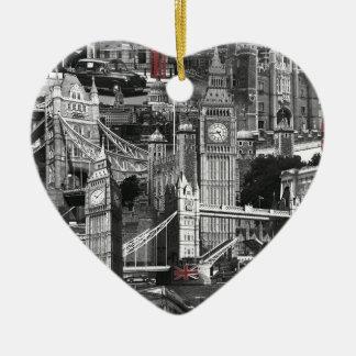 黒く及び白いロンドン都市通りのツーリストのデザイン セラミックオーナメント