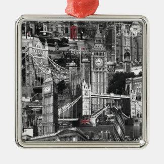 黒く及び白いロンドン都市通りのツーリストのデザイン メタルオーナメント