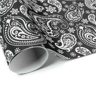 黒く及び白いヴィンテージのペイズリー ラッピングペーパー