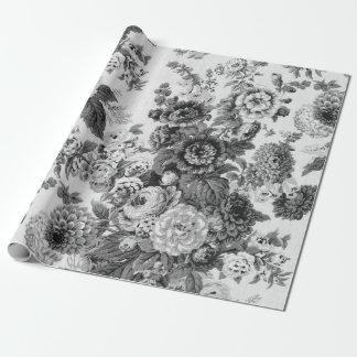 黒く及び白いヴィンテージ植物の花のToile ラッピングペーパー