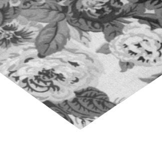 黒く及び白いヴィンテージ花のToile No.3A 薄葉紙