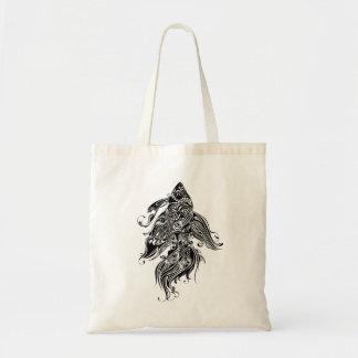 黒く及び白い入れ墨のデザイン魚 トートバッグ