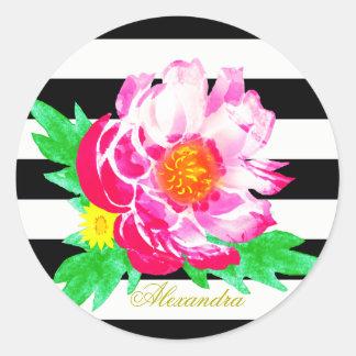 黒く及び白い円形のステッカーのモノグラムのピンクのシャクヤク ラウンドシール