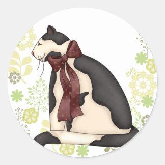 黒く及び白い子猫猫w/Floralのボーダー ラウンドシール