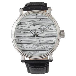 黒く及び白い手描きの素朴な木製の模造のなBois 腕時計