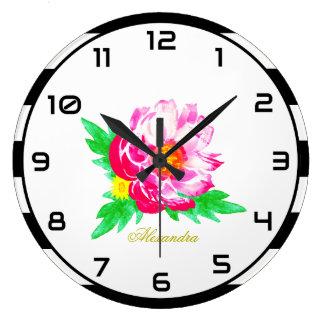 黒く及び白い柱時計のモノグラムのピンクのシャクヤク ラージ壁時計