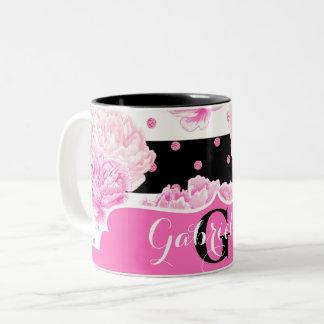 黒く及び白い横のストライプな水彩画の花柄 ツートーンマグカップ