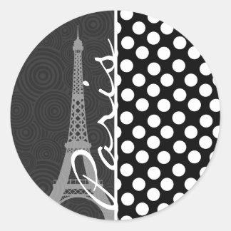 黒く及び白い水玉模様、点; パリ ラウンドシール