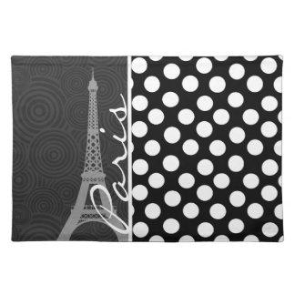 黒く及び白い水玉模様、点; パリ ランチョンマット