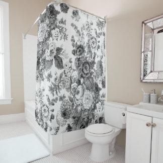 黒く及び白い灰色の調子のヴィンテージ花のToile No.3 シャワーカーテン