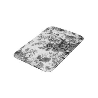 黒く及び白い灰色の調子のヴィンテージ花のToile No.3 バスマット