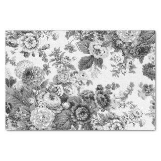 黒く及び白い灰色の調子のヴィンテージ花のToile No.3 薄葉紙