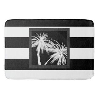 黒く及び白い熱帯ヤシの木のモダンな上品 バスマット
