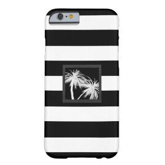 黒く及び白い熱帯ヤシの木のモダンな上品 BARELY THERE iPhone 6 ケース