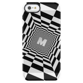 黒く及び白い目の錯覚、白いモノグラム クリア iPhone SE/5/5sケース