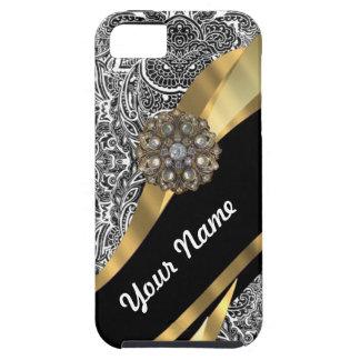 黒く及び白い花のダマスク織パターン iPhone SE/5/5s ケース