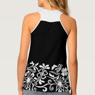 黒く及び白い花パターン タンクトップ