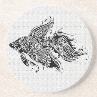 黒く及び白い華美入れ墨の芸術 コースター