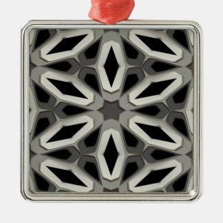 黒く及び白い蜜蜂の巣の部屋 シルバーカラー正方形オーナメント