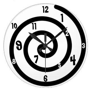 黒く及び白い螺線形の柱時計 ラージ壁時計