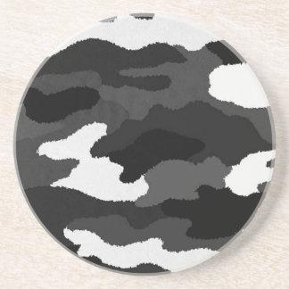 黒く及び白い迷彩柄 コースター