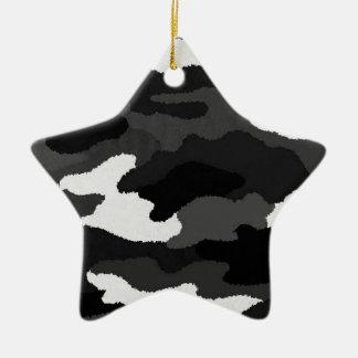 黒く及び白い迷彩柄 陶器製星型オーナメント