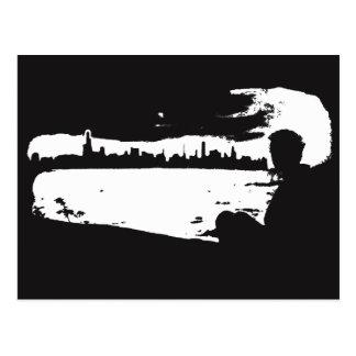 黒く及び白い都市眺望-郵便はがき ポストカード