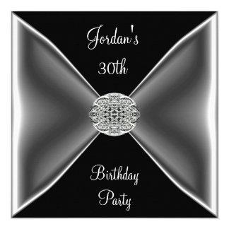 黒く及び白い銀製の宝石の第30誕生会 カード