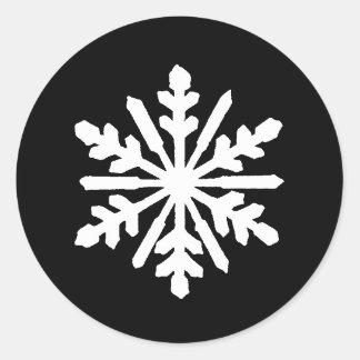 黒く及び白い雪片-円のステッカー ラウンドシール