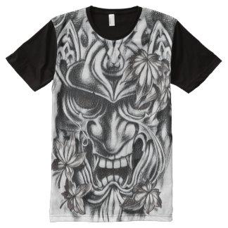 黒く及び白い鬼のマスクの木炭芸術 オールオーバープリントT シャツ