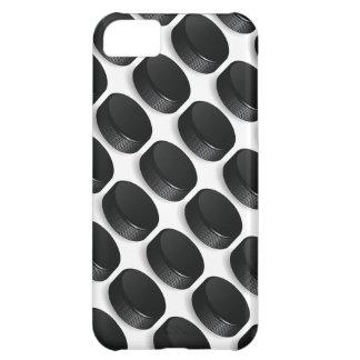 黒く及び白いiPhoneの場合-アイスホッケーのパックのデザイン iPhone 5C ケース