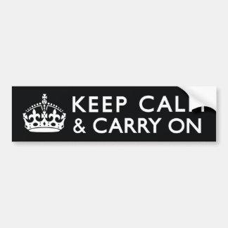 黒く及び白いKeep Calm and Carry On バンパーステッカー