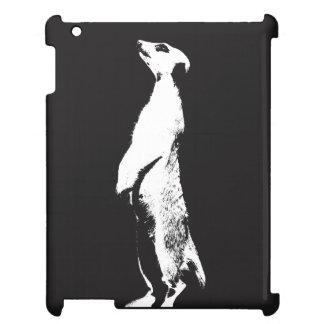 黒く及び白いMeerkat -右の- iPadの場合 iPadケース