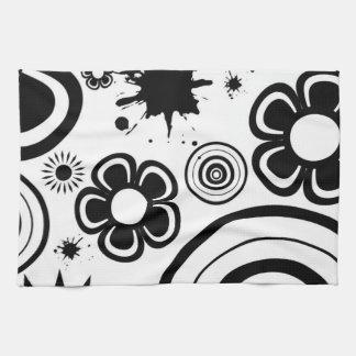 黒く及び白くお洒落な花、円、(ばちゃばちゃ)跳ねる キッチンタオル