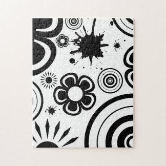 黒く及び白くお洒落な花、円、(ばちゃばちゃ)跳ねる ジグソーパズル