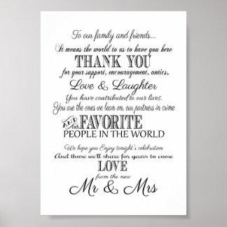 黒く及び白くエレガントな結婚式は印のプリント感謝していしています ポスター