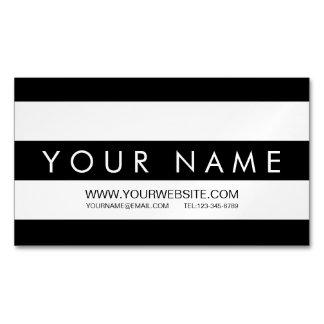 黒く及び白くストライプのな磁気名刺 マグネット名刺 (25枚パック)