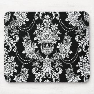 黒く及び白く華美なバロック式のパターン暗い マウスパッド