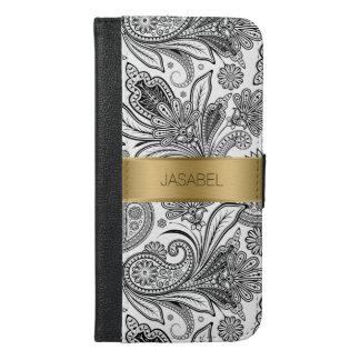 黒く及び白く華美なペイズリーの金ゴールドのアクセント iPhone 6/6S PLUS ウォレットケース