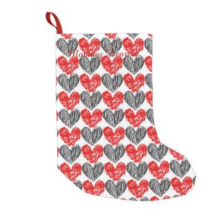 黒く及び赤い走り書きのハート スモールクリスマスストッキング