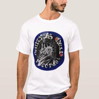 黒く及び青のロゴ Tシャツ