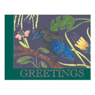 黒く及び青の極楽鳥 ポストカード