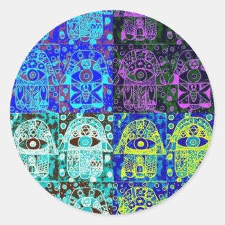 黒く及び青のHamsa ラウンドシール