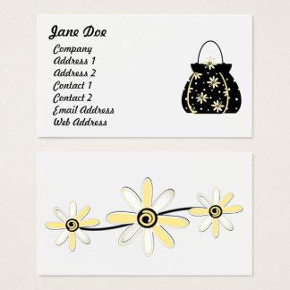 黒く及び黄色のフェミニンな花の財布 名刺