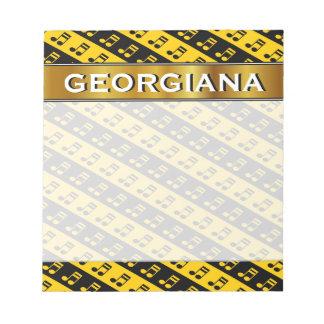 黒く及び黄色の発された第16ノートパターン ノートパッド